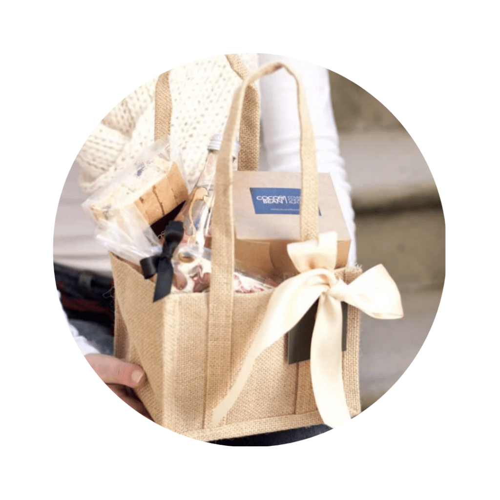 Jute hamper bag filled with Coco & Bean baked goods